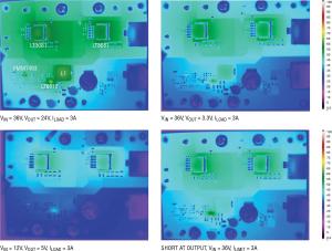 Figura 6. Varie scansioni termiche dell'alimentatore da banco in condizioni di alta potenza e cortocircuito mostrano che i suoi componenti rimangono a bassa temperatura senza l'uso di un dissipatore di calore o di una ventola. Da sinistra a destra: (a) VIN = 36 V, VOUT = 24 V, ILOAD = 3 A; (b) VIN = 36 V, VOUT = 3,3 V, ILOAD = 3 A; (c) VIN = 12 V, VOUT = 5 V, ILOAD = 3 A; (d) CORTOCIRCUITO ALL'USCITA, VIN = 36 V, ILIMIT = 3 A